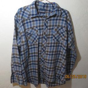 Wrangler Plaid Flannel Mens XL Pearl Snaps